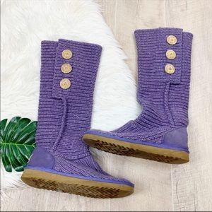 Ugg Purple Cardy Knit Sweater Tall Winter Boots